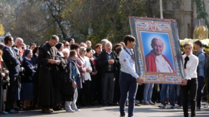 Procesiune în onoarea Sfântului Ioan Paul al II-lea Papa Romei