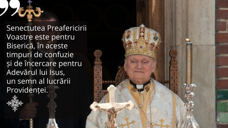"""""""Un semn al lucrării Providenței"""" – urările PS Mihai la împlinirea a 90 ani de către PF Lucian Muresan"""